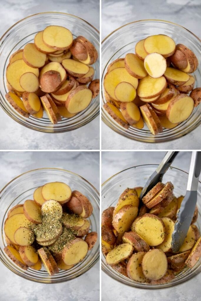 step by step seasoning sliced potatoes in a glass bowl and tossing with tongs