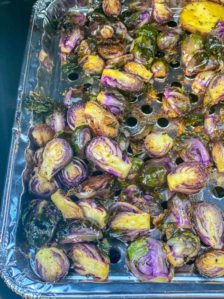 grill tray with Brussels spout halves