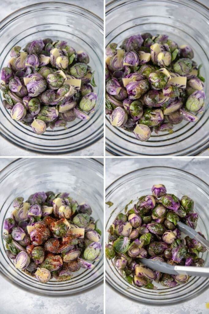step by step adding seasoning to chopped Brussels spouts in glass bowl