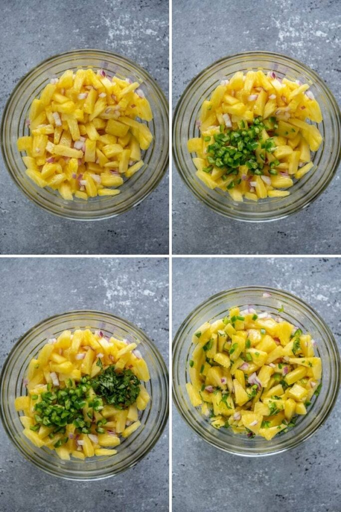 4 photo collage making pineapple salsa in a glass bowl