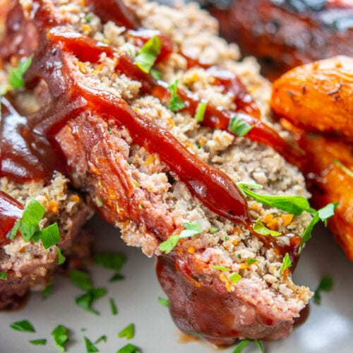 grilled meatloaf on a plate