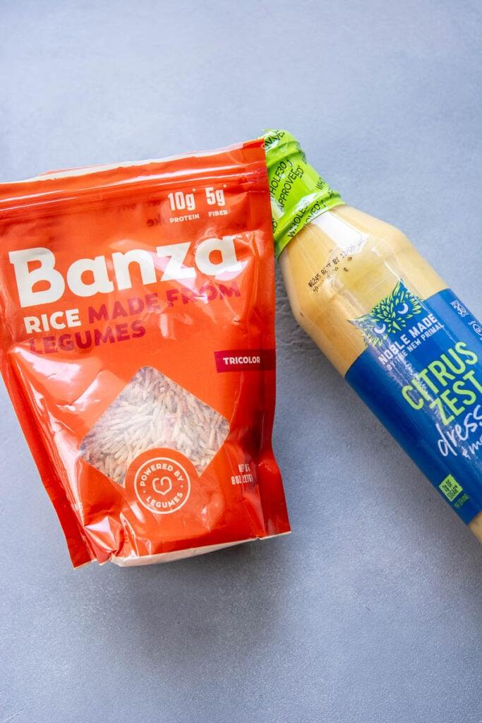 banza rice pasta and citrus zest dressing