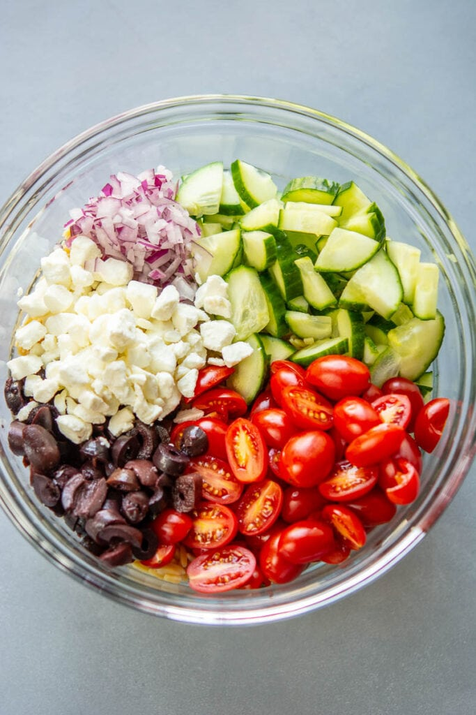 ingredients for greek orzo salad