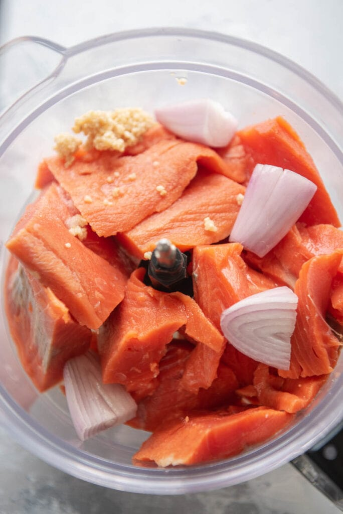 salmon, shallots, and garlic in a food processor