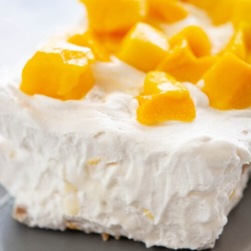 mango float on a gray plate
