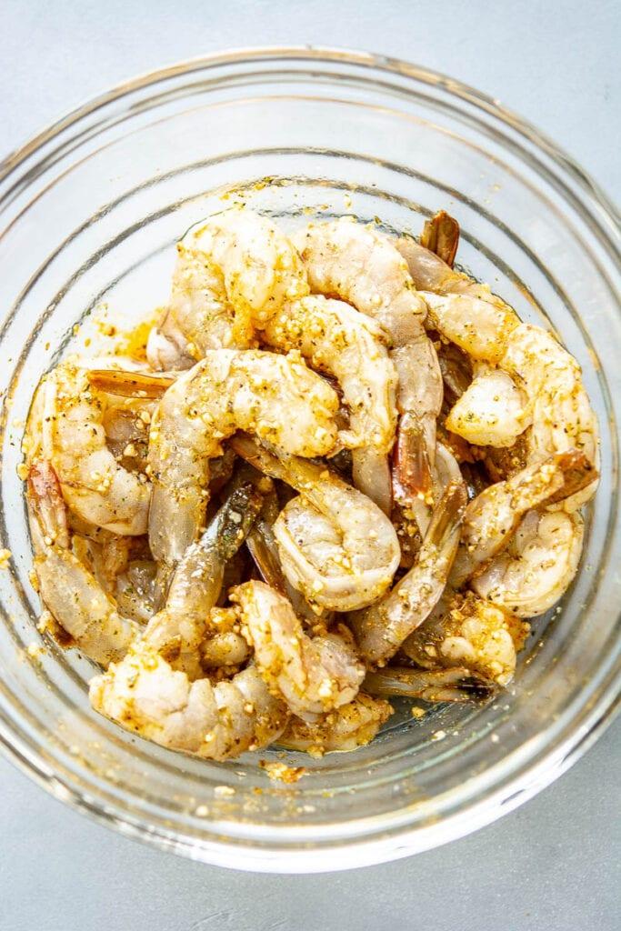 shrimp and cajun seasoning in a bowl