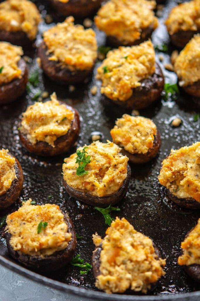 closeup of grilled stuffed mushrooms