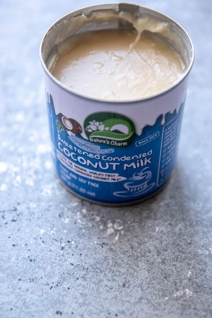 open can of coconut milk