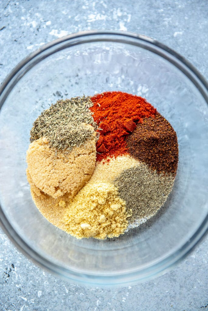 ingredients for steak seasoning in a bowl