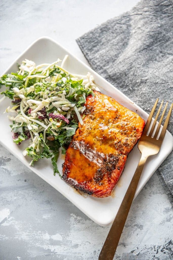 honey mustard salmon on late with fork