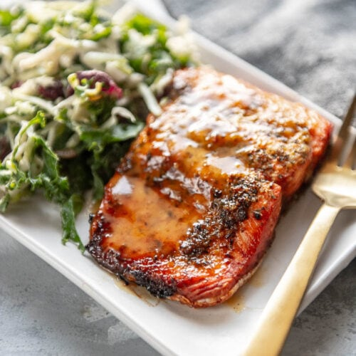 honey mustard salmon on a plate